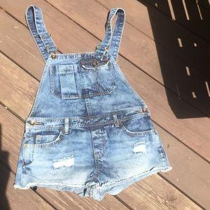 Billabong jean overalls shorts